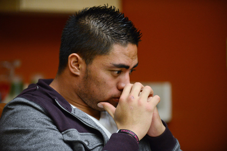In a photo provided by ESPN, Notre Dame linebacker Manti Te'o pauses during an interview with ESPN on Friday, Jan. 18, 2013, in Bradenton, Fla.  (AP Photo/ESPN Images, Ryan Jones) MANDATORY CREDIT