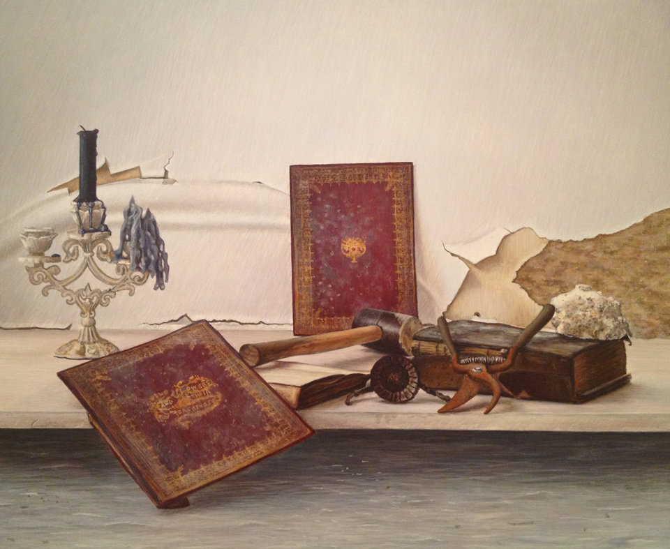 "Photo - This undated image provided by John Gordon Gauld shows the Brooklyn artists'  ""Wildflowers and Their Teachings, "" a still life painting depicting the remnants of his flooded studio: Rusted tools and damaged books against a crumbling, peeling and moldy wall. Many New York City artists are still dealing with the shock of what Superstorm Sandy left in its path: Unusable studios and homes, destroyed tools and materials, unsalvageable artworks. But others, including Gauld, are discovering a new energy and renewed creativity in its wake. Nearly two dozen artists are showcasing their storm-related works at a New York City gallery.  ""After Effects"" in Chelsea opens Friday Feb. 8 and runs through Feb. 24. (AP Photo/John Gordon Gauld)"