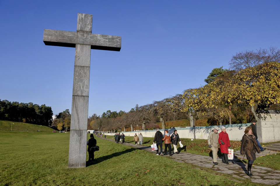 Photo - This is  a Nov. 1, 2008 file photo of the Skogskyrkogarden, a woodland cemetery on the southern edge of Stockholm. It was created between 1917 and 1920 and became a UNESCO World Heritage site in 1994. (AP Photo/Jessica Gow, File) SWEDEN OUT