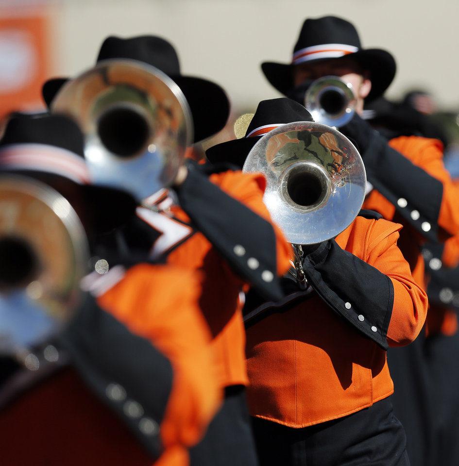 Photo - The OSU Cowboy Marching Band performs before a college football game between Oklahoma State University (OSU) and Texas Christian University (TCU) at Boone Pickens Stadium in Stillwater, Okla., Saturday, Oct. 27, 2012. Photo by Nate Billings, The Oklahoman