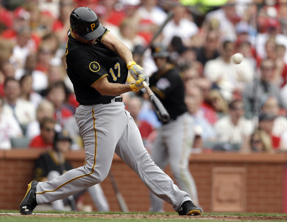 Photo - Pittsburgh Pirates' Gaby Sanchez hits a two-run double during the fourth inning of a baseball game against the St. Louis Cardinals on Saturday, April 26, 2014, in St. Louis. (AP Photo/Jeff Roberson)