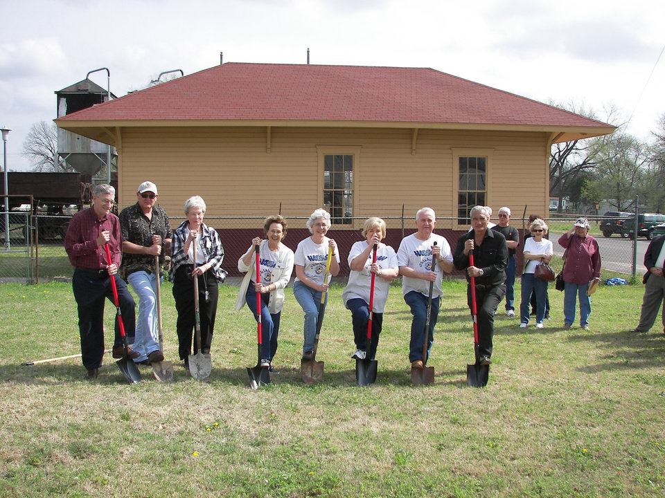 Members of the Harrah Historical Society break ground for their new museum, March 24, 2007.  Shown are:  Alvin Thompson, Executive Board Member; Larry Nichols, museum contractor; Ruth Shaw, Secretary; Jeanne Ann Weller, President; Linda Parrish, Vice President; Karen Erbin, Editor; Don Erbin, Treasurer; and Hans Willemse, Museum Construction Team Chairperson.<br/><b>Community Photo By:</b> Karen Erbin<br/><b>Submitted By:</b> linda, harrah