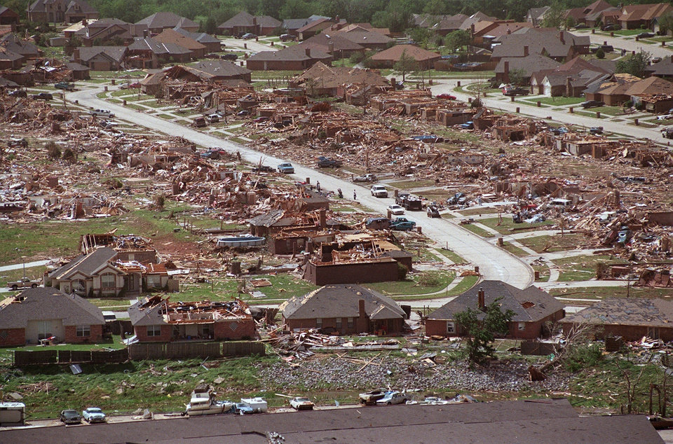 MAY 3, 1999 TORNADO: Tornado damage, aerial view: One of the hardest hit neighborhoods leveled in NW Moore.