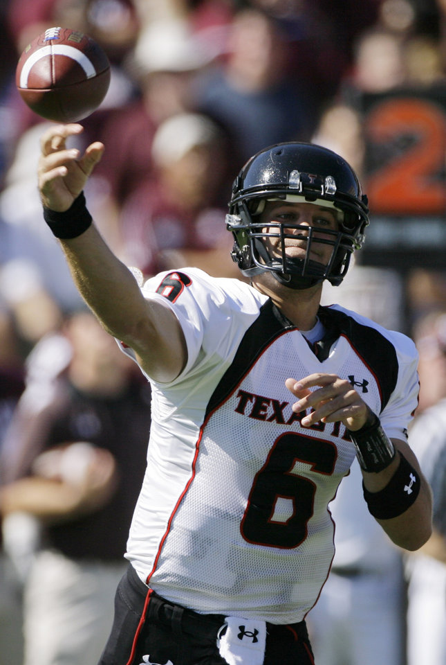 Photo - ** FILE ** In this Oct. 18, 2008 file photo, Texas Tech quarterback Graham Harrell passes in the first half of an NCAA college football game against Texas A&M  in College Station, Texas. Harrell entered this season a known quantity, having been at or near the top in passing nationally for two years. He has inched near the NCAA record for career touchdowns and busted plenty of conference passing marks _ all of which place him among a handful of other quarterbacks favored to win the Heisman Trophy.  (AP Photo/Matt Slocum, File) ORG XMIT: NY167
