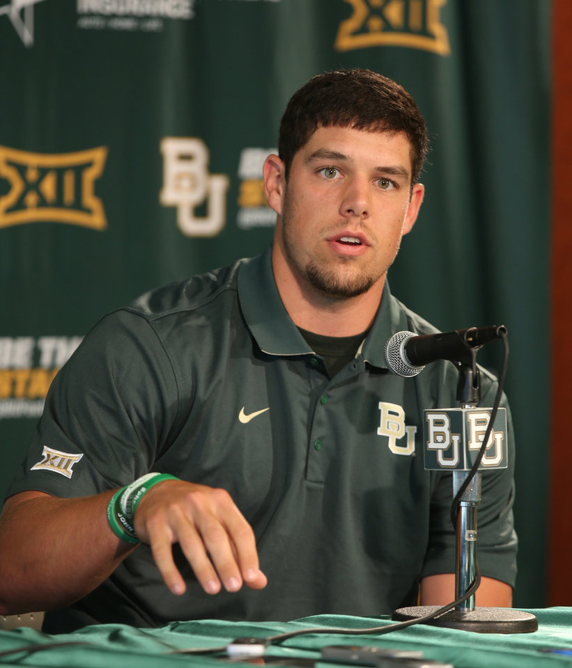 Photo - Baylor senior starting quarterback Bryce Petty answers a question during a press conference, Monday, Aug. 25, 2014, in Waco, Texas. Baylor will face SMU Sunday during their season opener at their new McLane stadium. (AP Photo/Waco Tribune Herald, Rod Aydelotte)