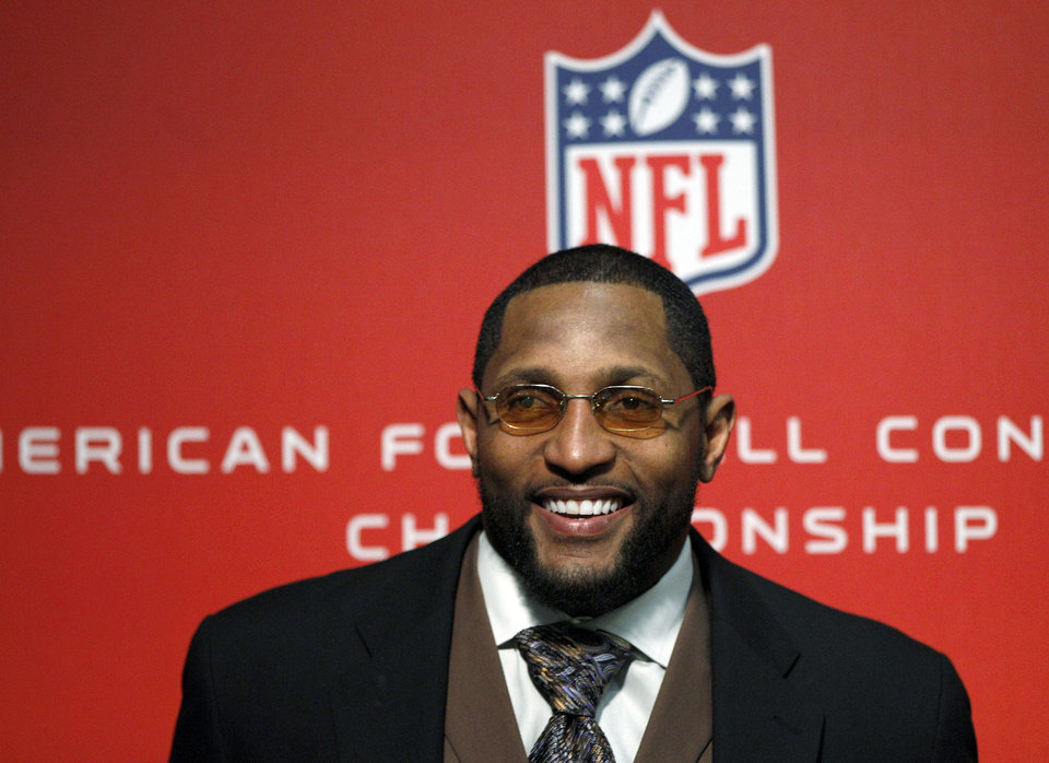 Photo - Baltimore Ravens inside linebacker Ray Lewis speaks at a news conference after winning the NFL football AFC Championship football game against the New England Patriots in Foxborough, Mass., Sunday, Jan. 20, 2013. The Ravens defeated the Patriots, 28-13, to advance to Super Bowl XLVII. (AP Photo/Stephan Savoia)