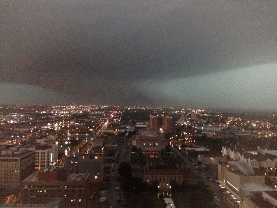 Photo - Photo of the storm approaching downtown Oklahoma City. Photo by Chris Morrow -- user-submitted.