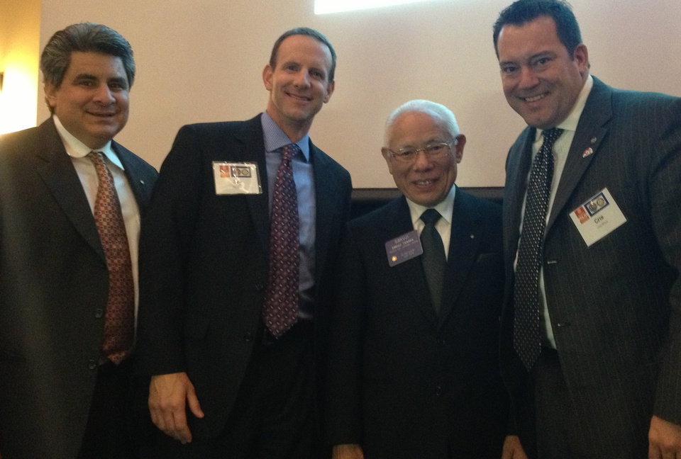 Sakuji Tanaka of Japan, president of Rotary International, makes a rare visit to Oklahoma recently. Edmond Rotary Club members join him, from left, president-elect Daniel Chavez, president Jay Smith, Tanaka, and sergeant-at-arms Cris Price.