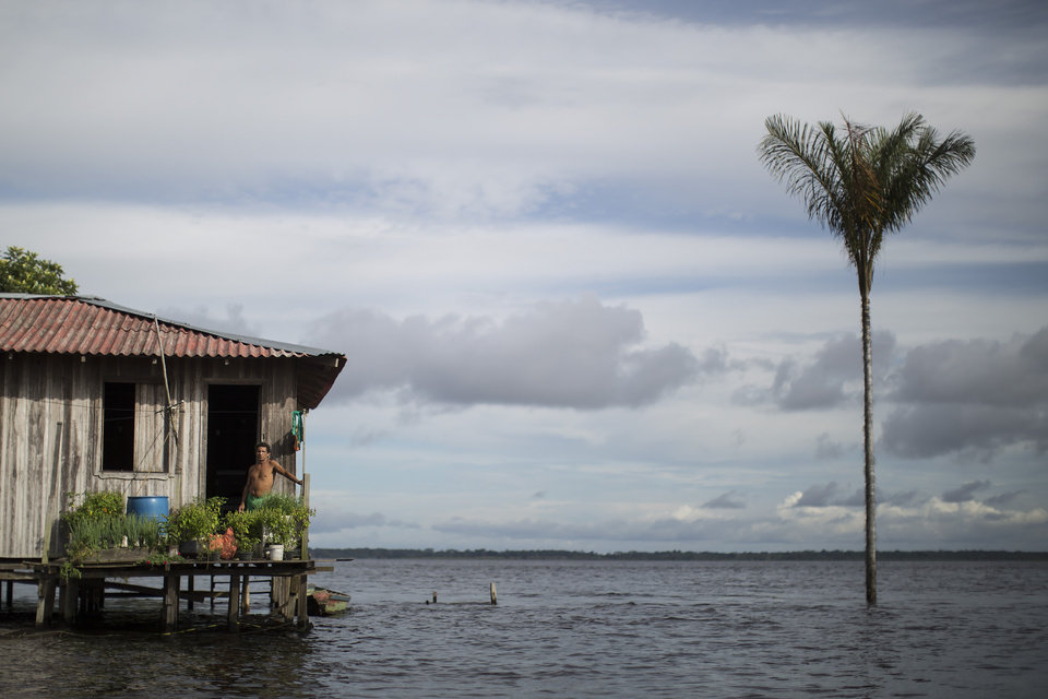 Photo - In this May 23, 2014 photo, a man stands on the porch of his stilt house in the Solimoes River, near Manaus, Brazil. A World Cup host city, Manaus' far-flung location in the heart of the world's biggest rainforest makes it reachable only by plane or boat. Thousands of foreigners are expected to begin arriving in the Amazonian metropolis for the international soccer matches being held in Manaus's new multi-million dollar soccer stadium. (AP Photo/Felipe Dana)