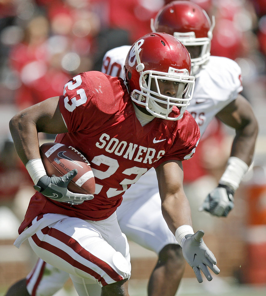OU's Jermie Calhoun runs during Oklahoma's Red-White football game at The Gaylord Family - Oklahoma Memorial Stadiumin Norman, Okla., Saturday, April 11, 2009. Photo by Bryan Terry, The Oklahoman