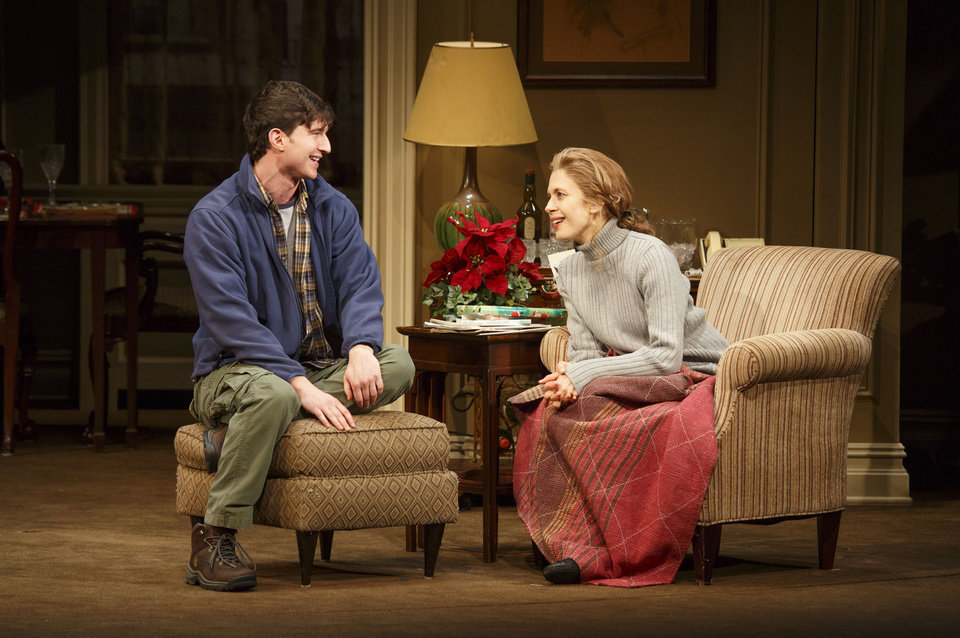 Photo - This theater publicity image released by Boneau/Bryan-Brown shows Jake Silbermann, left, and Jessica Hecht in a scene from