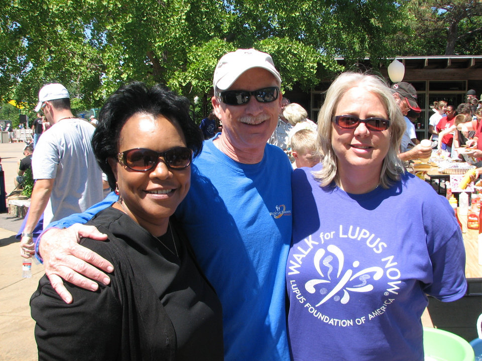 Photo - Senator Connie Johnson, Former Oklahoma City Assistant Fire Chief Jon Hansen and Lupus Foundation Executive Director Lea Jensen visit at the 2008 Walk for Lupus Now on May 17th at the OKC Zoo.  Over 400 people attended the event.  Community Photo By:  Glenn Hightower  Submitted By:  lea, Oklahoma City