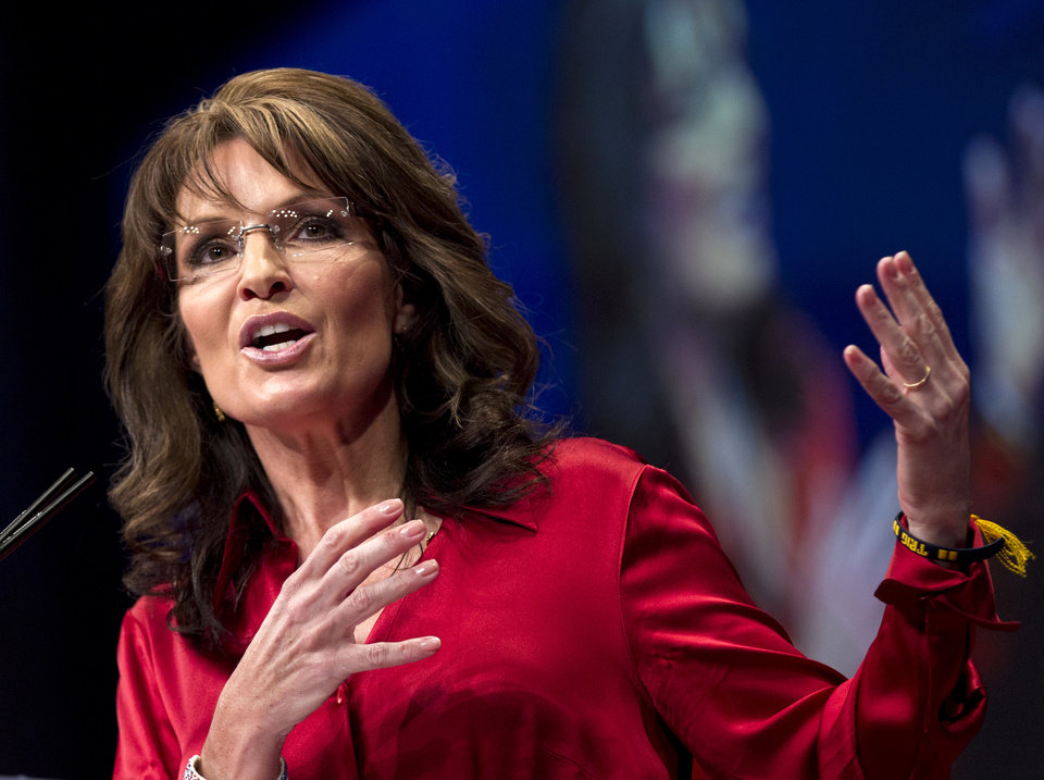 FILE - In this Feb. 11, 2012 file photo, Sarah Palin, the GOP candidate for vice-president in 2008, and former Alaska governor speaks in Washington. Palin has a deal with HarperCollins for