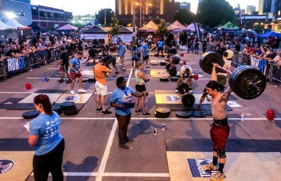 Photo -  Bricktown Throwdown, a regional CrossFit competition, draws competitors to Bricktown from throughout Oklahoma and surrounding states. The competition concluded on Sunday.  [PROVIDED BY BREWER ENTERTAINMENT]