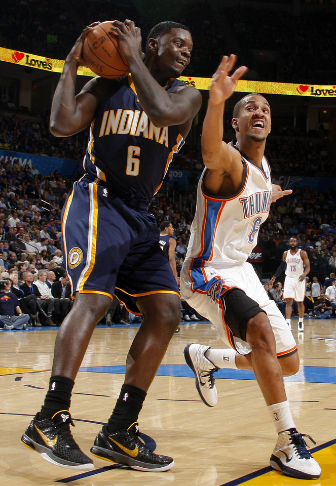 Oklahoma City\'s Eric Maynor (6) goes for the ball beside Indiana\'s Lance Stephenson (6) during the NBA basketball game between the Oklahoma City Thunder and the Indiana Pacers at the Oklahoma City Arena, Wednesday, March 2, 2011. Photo by Bryan Terry, The Oklahoman