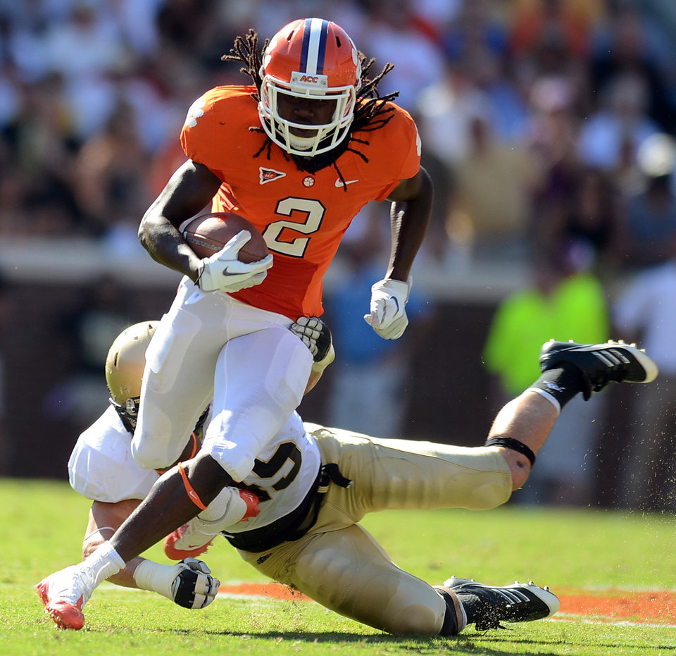 Photo -   FILE - This Sept. 10, 2011 file photo shows Clemson's Sammy Watkins (2) breaking free from Wofford's Mike Niam during an NCAA college football game in Clemson, S.C. Watkins was arrested and charged with possession of marijuana and a controlled substance on Friday, May 4, 2012 in Columbia, S.C. (AP Photo/ Richard Shiro, File)