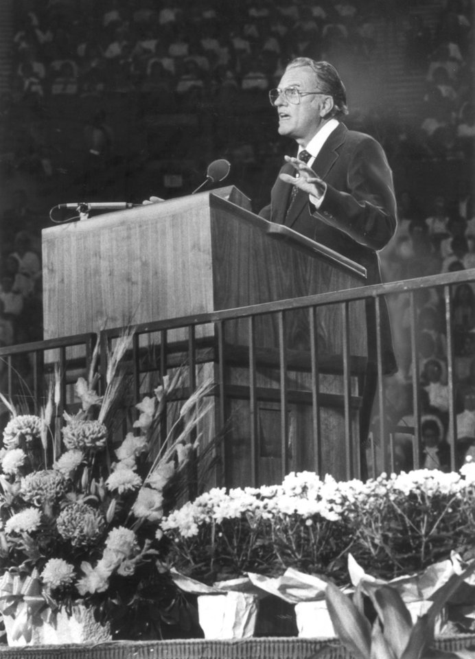 Photo - Billy Graham's podium has special features, such as lights which time his sermons. Evangelist Billy Graham in Oklahoma City. Staff photo by Jim Beckel taken 10/23/1983.