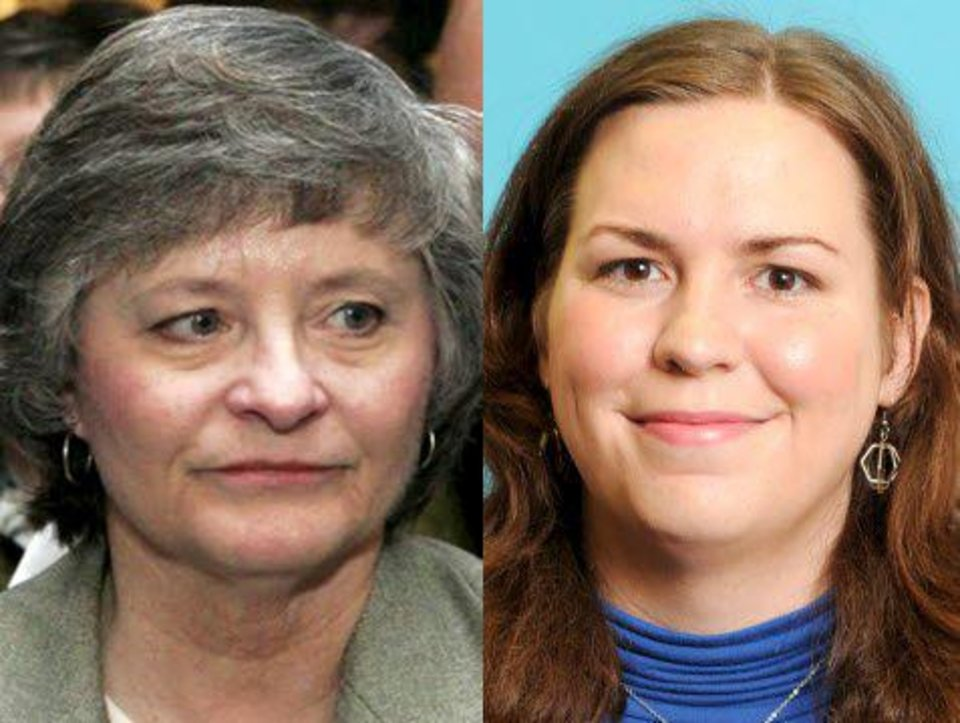 Photo - Sally Kern (left) and Brittany Novotny: Kern, a Republican, likely will face Novotny, a Democrat, in the campaign for Oklahoma City's House District 84 seat in this fall's general election.