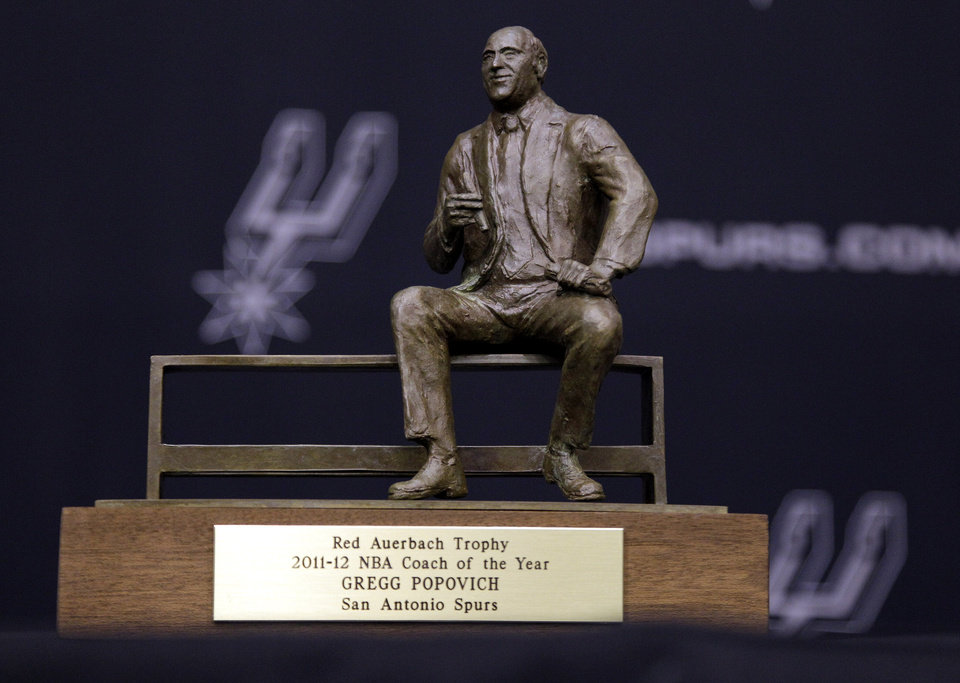 Photo -   The Red Auerbach trophy awarded to San Antonio Spurs head basketball coach Gregg Popovich during a news conference where he was named the NBA's Coach of the Year is seen following a news conference at the team's basketball practice facility, Tuesday, May 1, 2012, in San Antonio. (AP Photo/Eric Gay)