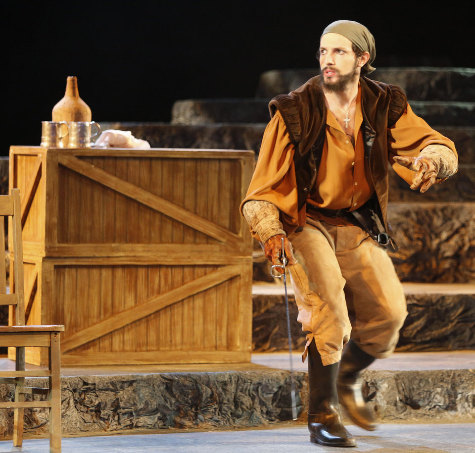 "Nathan Dunn performs in the Oklahoma Children's Theatre production of ""Treasure Island."""