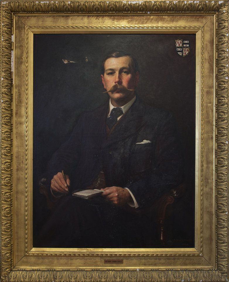 Photo - This image made available by the Museum of London shows an oil painting of a portrait of Sir Arthur Conan Doyle, 1897, by Sidney Paget. The Museum of London on Tuesday May 20, 2014 announced an exhibition devoted entirely to the detective, from Arthur Conan Doyle's hand-written manuscripts to the coat worn by Benedict Cumberbatch in the BBC series