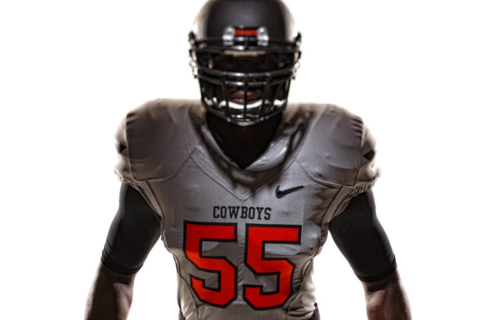 Photo - Oklahoma State's new football uniforms. Pictured here are the silver jersey and the silver helmet. PHOTO PROVIDED