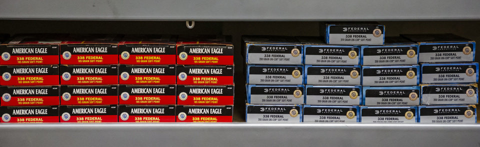 Photo - Ammo for sale on the shelves at H&H Shooting Sports in Oklahoma City, Okla. on Wednesday, March 18, 2020.  [Chris Landsberger/The Oklahoman]