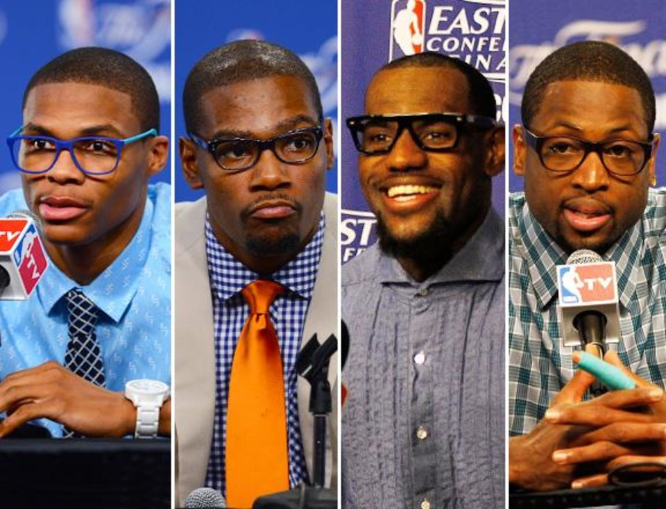 Left to right: Russell Westbrook, Kevin Durant, LeBron James, Dwyane Wade
