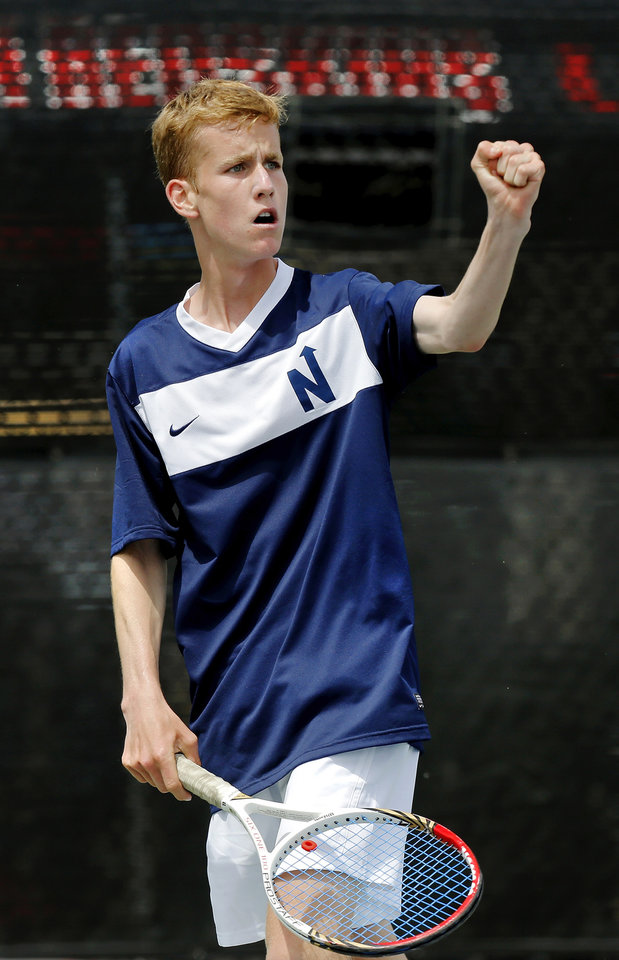 Photo - Edmond North's David Hager reacts as he celebrates a point during his match with Connor Finerty of Muskogee in the 6A boys number one singles final during state championship tennis tournaments at the OKC Tennis Center on N. Portland Saturday afternoon, May 17, 2014. Photo by Jim Beckel, The Oklahoman