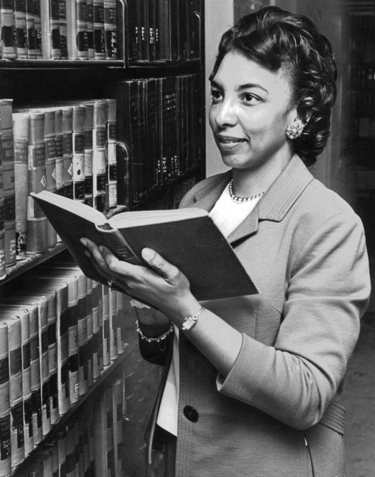 Photo - Hannah Atkins,  as a young reference librarian.  3/27/1964.