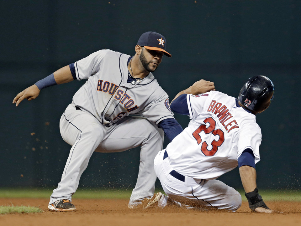 Houston Astros shortstop Jonathan Villar tags out Cleveland Indians' Michael Brantley (23) trying to steal second base in the ninth inning of a baseball game Thursday, Sept. 19, 2013, in Cleveland. (AP Photo/Mark Duncan)