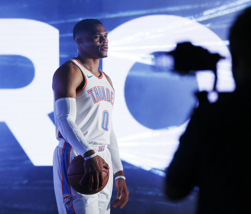 Photo - Russell Westbrook poses during a photo shoot for the NBA at media day for the Oklahoma City Thunder at Chesapeake Energy Arena in Oklahoma City, Monday, Sept. 24, 2018. Photo by Nate Billings, The Oklahoman