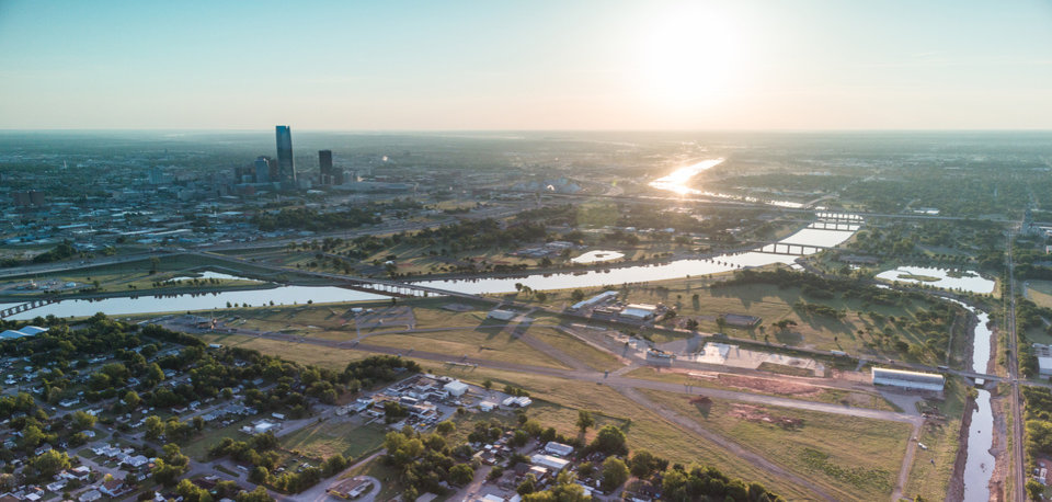 The former Downtown Airpark and most of the property shown to the east will be redeveloped as Wheeler, a new urbanist neighborhood that will tie into the Oklahoma River and downtown. Photo provided  <strong> Provided </strong>