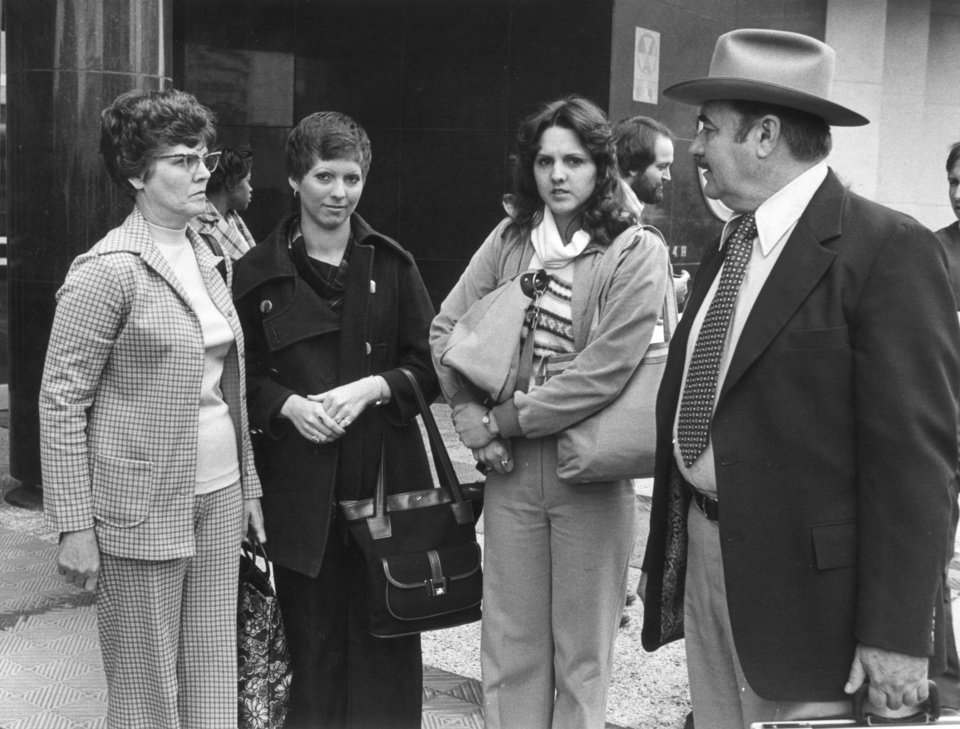 Photo - Karen Silkwood's family outside the Federal courthouse April 3, 1979. From left: Karen's mother, Mrs. Bill (Merle) Silkwood, sisters Rosemary and Linda and Karen's father Bill Silkwood. Karen Silkwood, Kerr McGee employee that worked at the plutonium plant near Cresent and the Cimmaron River. DAILY OKLAHOMAN STAFF PHOTO BY BOB VAHLBERG