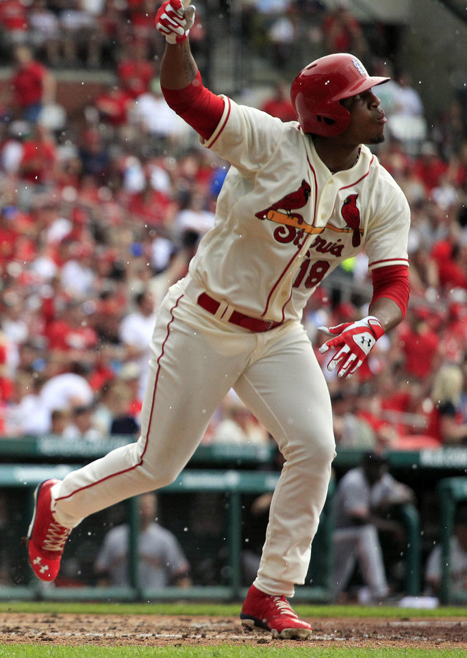 Photo - St. Louis Cardinals' Oscar Taveras watches his solo home run during the fifth inning of a baseball game against the San Francisco Giants Saturday, May 31, 2014, in St. Louis. (AP Photo/Jeff Roberson)