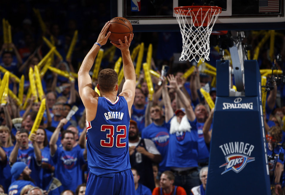 Photo - Los Angeles' Blake Griffin (32) shoots a free throw during Game 1 of the Western Conference semifinals in the NBA playoffs between the Oklahoma City Thunder and the Los Angeles Clippers at Chesapeake Energy Arena in Oklahoma City, Monday, May 5, 2014. Photo by Sarah Phipps, The Oklahoman