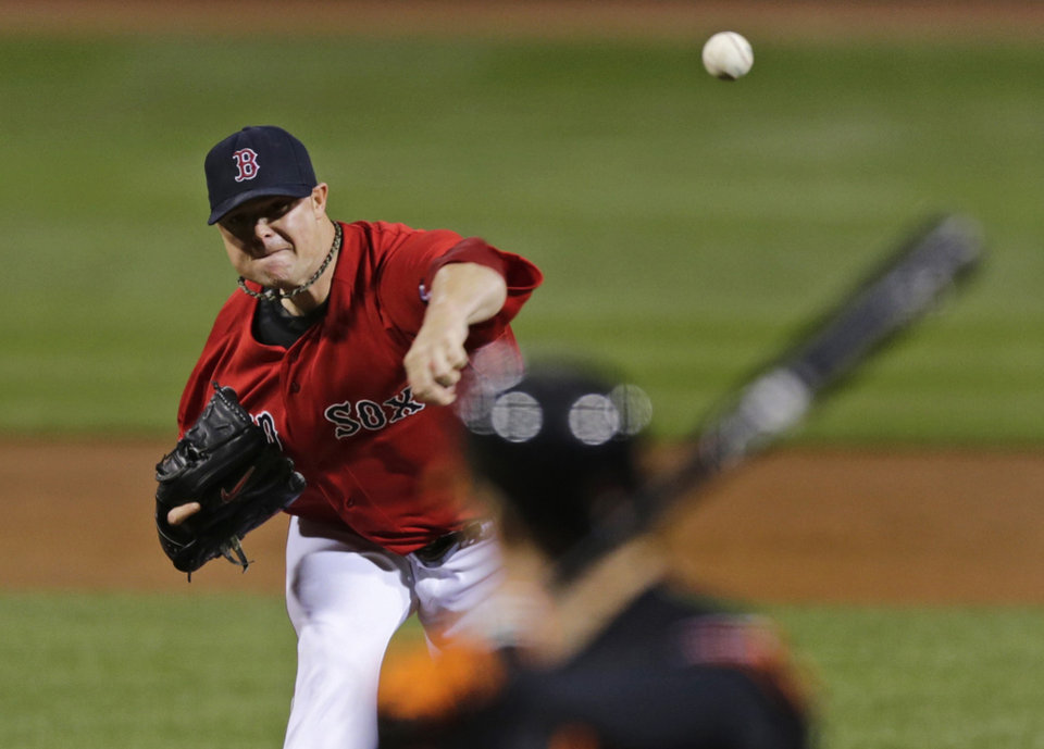 Photo -   Boston Red Sox starting pitcher Jon Lester throws against the Baltimore Orioles during the first inning of a baseball game at Fenway Park in Boston, Friday, Sept. 21, 2012. (AP Photo/Charles Krupa)