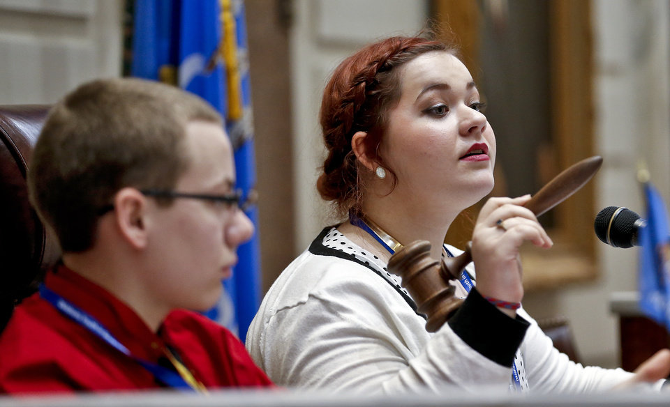 Sunny Owens commands the senate as about 100 seventh and eight grade students from across the state assume roles of state legislators at the State Capitol on Friday, March 29, 2013, in Oklahoma City, Okla.  Photo by Chris Landsberger, The Oklahoman