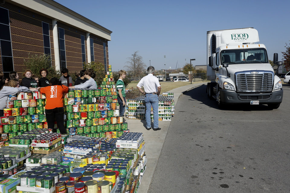 Students wait for the trucks to load food collected for the Regional Food Bank of Oklahoma at Bishop McGuinness High School Friday, November 9, 2012. The school collected 75,660 pounds of food. Photo by Doug Hoke, The Oklahoman