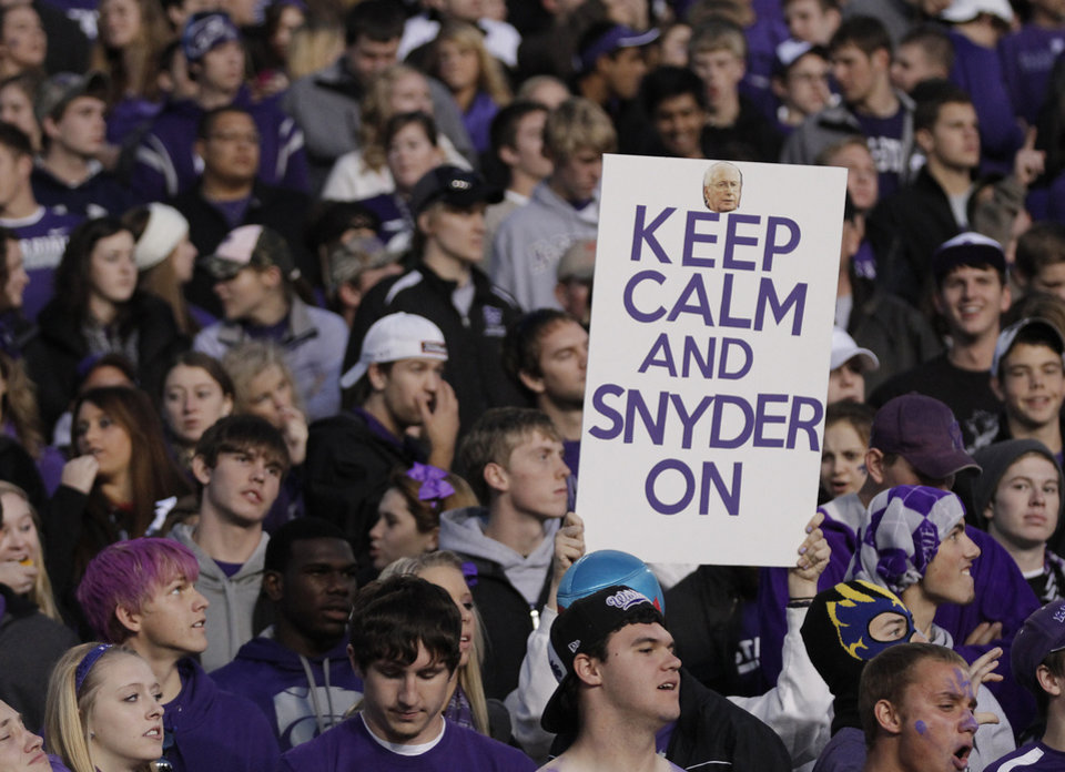 Photo - Kansas State fans show support for the Wildcat coach Bill Snyder during the college football game between the Oklahoma State University Cowboys (OSU) and the Kansas State University Wildcats (KSU) at Bill Snyder Family Football Stadium on Saturday, Nov. 1, 2012, in Manhattan, Kan. Photo by Chris Landsberger, The Oklahoman