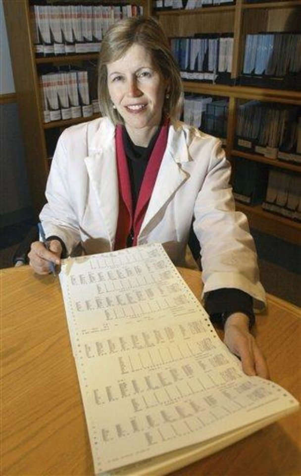 Photo - FILE - In this Dec. 12, 2002 file photo, Dr. JoAnn Manson poses for a photo in Boston. Manson, chief of preventive medicine at Harvard's Brigham and Women's Hospital, says women employees are less likely than men to ask her for pay raises, a phenomenon she says may explain results of a new study showing women doctor-researchers get paid substantially less than their male counterparts. The study involving 800 doctors nationwide appears Wednesday, June 12, 2012, in Journal of the American Medical Association. (AP Photo/Elise Amendola, File)