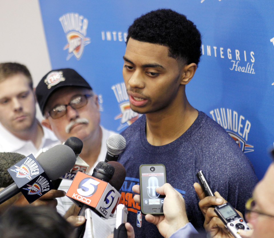 OKLAHOMA CITY THUNDER NBA BASKETBALL: New Thunder player Jeremy Lamb meets with media at the Integris Health Thunder Practice Facility in Oklahoma City, OK, Monday, October 29, 2012,  By Paul Hellstern, The Oklahoman