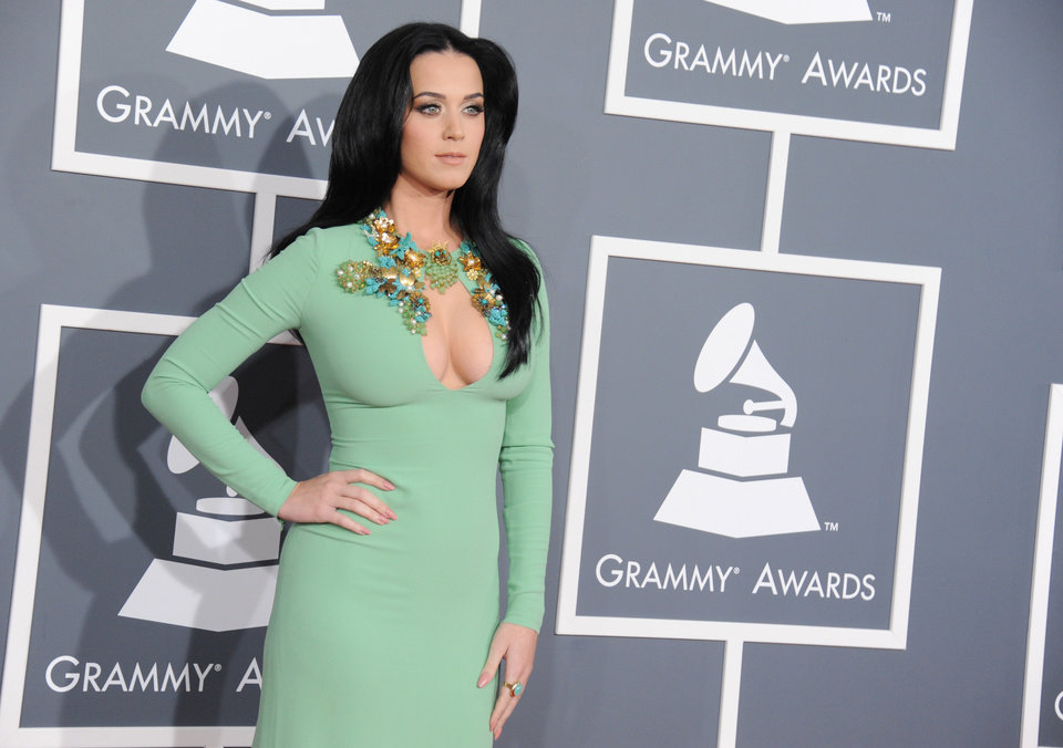 Photo - Katy Perry arrives at the 55th annual Grammy Awards on Sunday, Feb. 10, 2013, in Los Angeles.  (Photo by Jordan Strauss/Invision/AP)