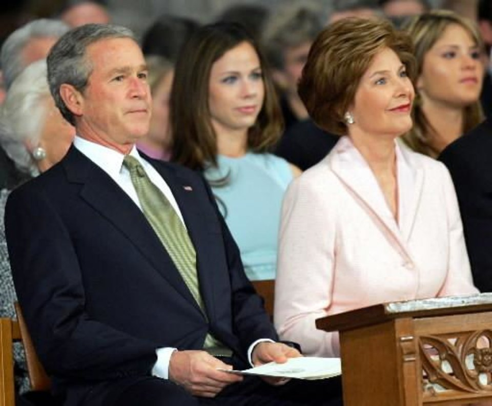 2005 file photo - President George W. Bush attends the 55th Presidential Inaugural Prayer service at Washington's National Cathedral, Friday, Jan. 21, 2005 with first lady Laura Bush and daughters Barbara Bush, second from left, and Jenna Bush, right. (AP Photo/Susan Walsh)