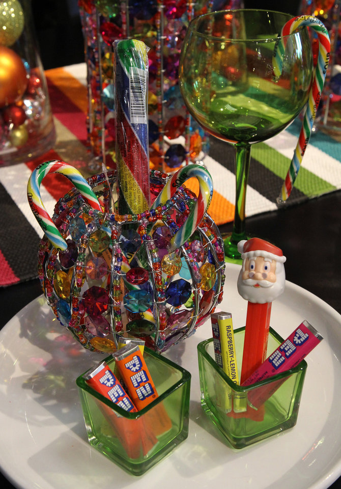 The designers at Ashley Furniture in Ballwin, Missouri set up several holiday decor scenes in their showroom on Manchester Road, November 13, 2012. Here, Pez candy dispensers were used as accents. (J.B. Forbes/St. Louis Post-Dispatch/MCT)