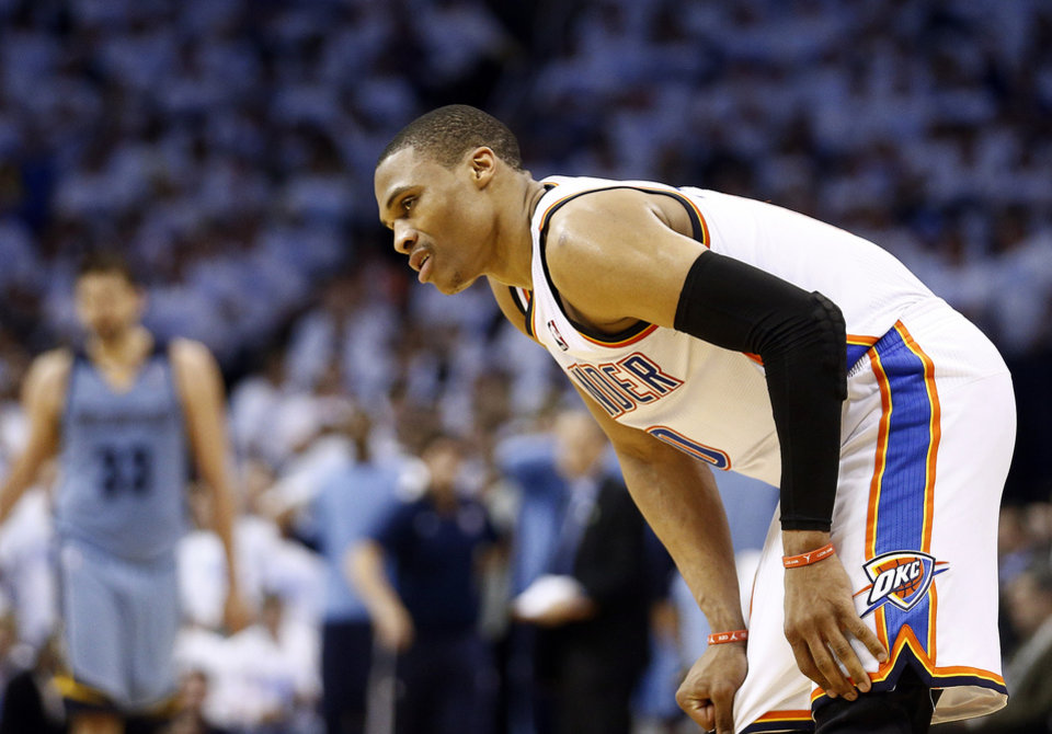 Photo - Oklahoma City's Russell Westbrook (0) reacts in the fourth quarter during Game 5 in the first round of the NBA playoffs between the Oklahoma City Thunder and the Memphis Grizzlies at Chesapeake Energy Arena in Oklahoma City, Tuesday, April 29, 2014. Photo by Sarah Phipps, The Oklahoman