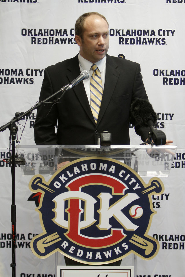 RedHawks Director of Media Relations and Broadcaster J.P. Shadrick talks during the press conference to announce the new name for the ballpark. Newcastle Field at Bricktown where the Redhawks will play their home games Wednesday, April 4, 2012. Photo by Doug Hoke, The Oklahoman