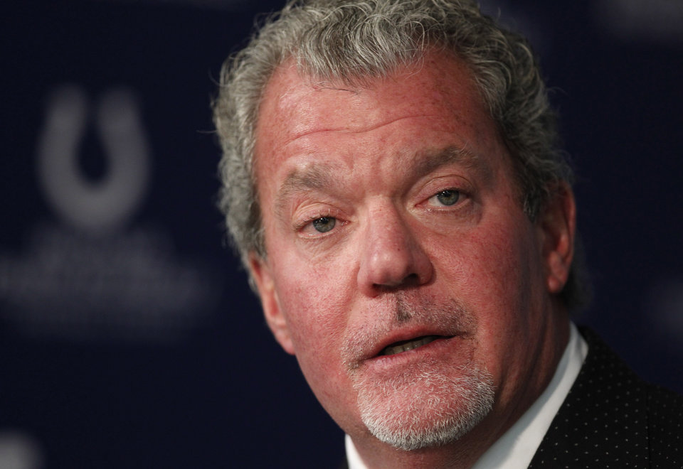 Photo - FILE - This is a Jan. 2, 2012 file photo showing Indianapolis Colts owner Jim Irsay during a press conference at the NFL football team's practice facility in Indianapolis. Authorities say Irsay is in jail after being stopped on suspicion of drunken driving. Hamilton County Sheriff's Department Deputy Bryant Orem says Irsay was arrested Sunday night, March 16, 2014, in the northern Indianapolis suburb of Carmel. (AP Photo/Michael Conroy, File)