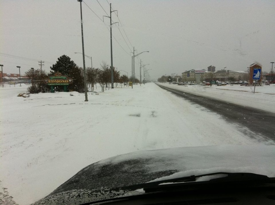 Photo - Snowy view entering the Edmond city limits on South Broadway. PHOTO PROVIDED EDMOND POLICE DEPARTMENT.