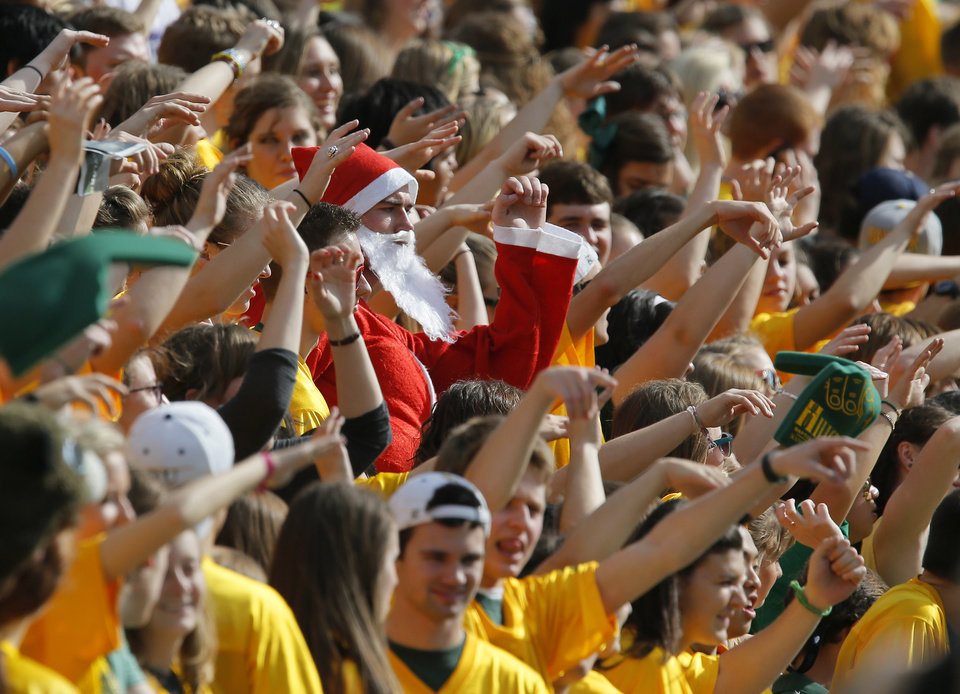 Photo - Baylor fans celebrate during a college football game between the Oklahoma State University Cowboys (OSU) and the Baylor University Bears at Floyd Casey Stadium in Waco, Texas, Saturday, Dec. 1, 2012. Photo by Nate Billings, The Oklahoman